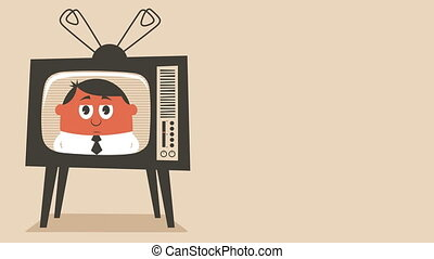 TV News - Looping animation of retro television set...