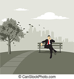 Cityscape with businessman