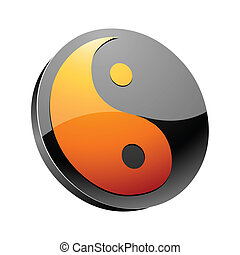 yin and yang 3d icon vector illustration