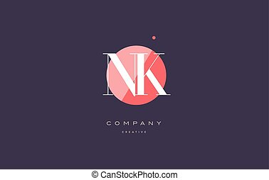 nk n k retro vintage rhombus simple black white alphabet...