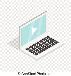 Video movie media player on the laptop isometric
