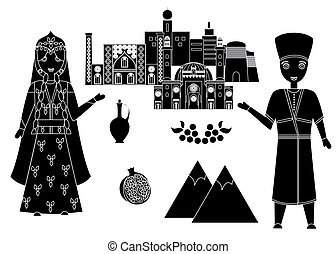 welcome to azerbaijan - set in the style of a flat design on...