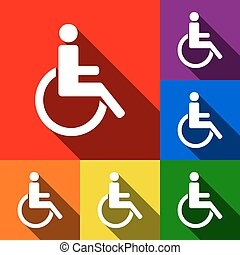 Disabled sign illustration. Vector. Set of icons with flat shadows at red, orange, yellow, green, blue and violet background.