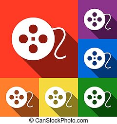 Film circular sign. Vector. Set of icons with flat shadows at red, orange, yellow, green, blue and violet background.