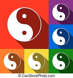 Ying yang symbol of harmony and balance. Vector. Set of icons with flat shadows at red, orange, yellow, green, blue and violet background.