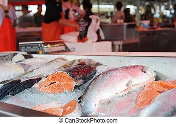Fish market - Detailed view of fish displayed at a fish...