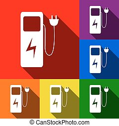 Electric car charging station sign. Vector. Set of icons...