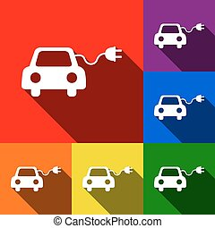 Eco electric car sign. Vector. Set of icons with flat...