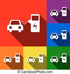 Electric car battery charging sign. Vector. Set of icons...