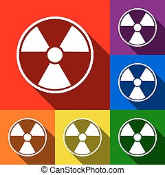 Radiation Round sign. Vector. Set of icons with flat shadows...