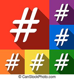 Hashtag sign illustration. Vector. Set of icons with flat...