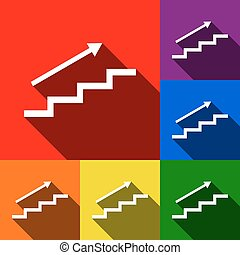 Stair with arrow. Vector. Set of icons with flat shadows at red, orange, yellow, green, blue and violet background.