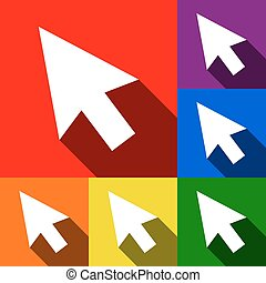 Arrow sign illustration. Vector. Set of icons with flat shadows at red, orange, yellow, green, blue and violet background.