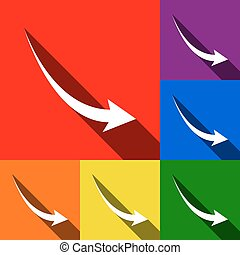 Declining arrow sign. Vector. Set of icons with flat shadows at red, orange, yellow, green, blue and violet background.