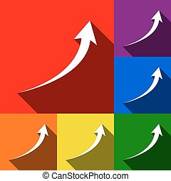 Growing arrow sign. Vector. Set of icons with flat shadows at red, orange, yellow, green, blue and violet background.