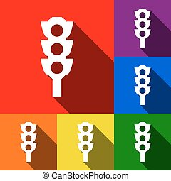 Traffic light sign. Vector. Set of icons with flat shadows at red, orange, yellow, green, blue and violet background.