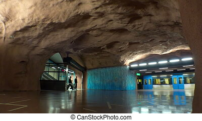 Sundbybergs centrum. Metro station. Art in the subway....