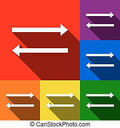Arrow simple sign. Vector. Set of icons with flat shadows at red, orange, yellow, green, blue and violet background.