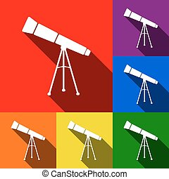 Telescope simple sign. Vector. Set of icons with flat shadows at red, orange, yellow, green, blue and violet background.