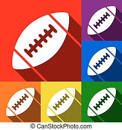 American simple football ball. Vector. Set of icons with flat shadows at red, orange, yellow, green, blue and violet background.
