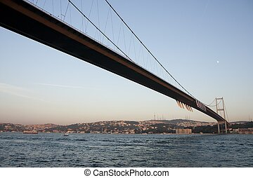 Bosphorus and bridge in Istanbul - connecting Asia and...
