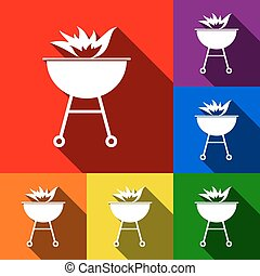 Barbecue with fire sign. Vector. Set of icons with flat shadows at red, orange, yellow, green, blue and violet background.