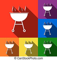 Barbecue simple sign. Vector. Set of icons with flat shadows at red, orange, yellow, green, blue and violet background.