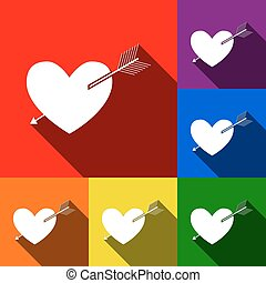 Arrow heart sign. Vector. Set of icons with flat shadows at red, orange, yellow, green, blue and violet background.