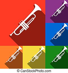 Musical instrument Trumpet sign. Vector. Set of icons with...