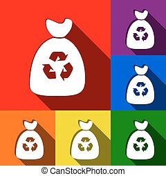 Trash bag icon. Vector. Set of icons with flat shadows at...