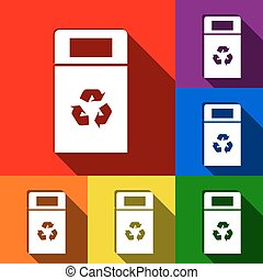 Trashcan sign illustration. Vector. Set of icons with flat shadows at red, orange, yellow, green, blue and violet background.