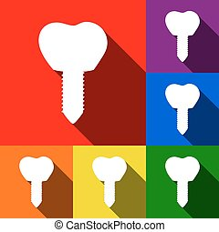 Tooth implant sign illustration. Vector. Set of icons with...