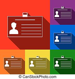 Identification card sign. Vector. Set of icons with flat shadows at red, orange, yellow, green, blue and violet background.