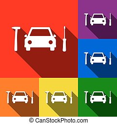 Car tire repair service sign. Vector. Set of icons with flat shadows at red, orange, yellow, green, blue and violet background.