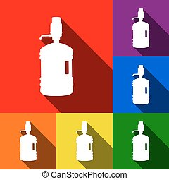 Plastic bottle silhouette with water and siphon. Vector. Set of icons with flat shadows at red, orange, yellow, green, blue and violet background.