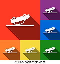 Crashed Car sign. Vector. Set of icons with flat shadows at red, orange, yellow, green, blue and violet background.