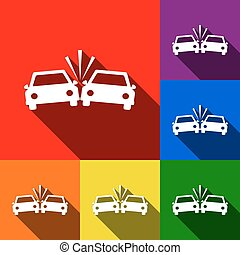 Crashed Cars sign. Vector. Set of icons with flat shadows at red, orange, yellow, green, blue and violet background.