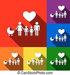 Family sign with heart. Husband and wife are kept children's hands. Vector. Set of icons with flat shadows at red, orange, yellow, green, blue and violet background.