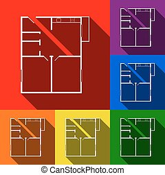 Apartment house floor plans. Vector. Set of icons with flat shadows at red, orange, yellow, green, blue and violet background.