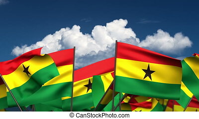 Waving Ghanaian Flags (seamless & alpha channel)