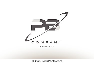pb p b swoosh grey alphabet letter logo - pb p b grey swoosh...