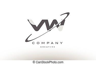 vw v w swoosh grey alphabet letter logo - vw v w grey swoosh...