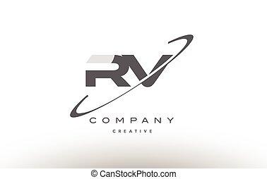 rv r v swoosh grey alphabet letter logo - rv r v grey swoosh...