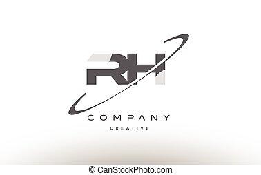 rh r h swoosh grey alphabet letter logo - rh r h grey swoosh...