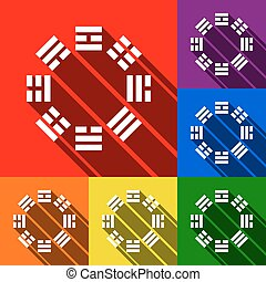Bagua sign. Vector. Set of icons with flat shadows at red,...
