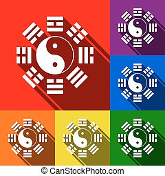 Yin and yang sign with bagua arrangement. Vector. Set of icons with flat shadows at red, orange, yellow, green, blue and violet background.