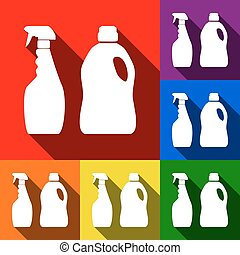 Household chemical bottles sign. Vector. Set of icons with flat shadows at red, orange, yellow, green, blue and violet background.