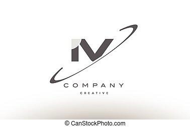 iv i v swoosh grey alphabet letter logo - iv i v grey swoosh...