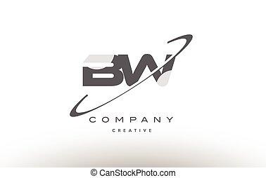 bw b w swoosh grey alphabet letter logo - bw b w grey swoosh...