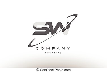 sw s w swoosh grey alphabet letter logo - sw s w grey swoosh...